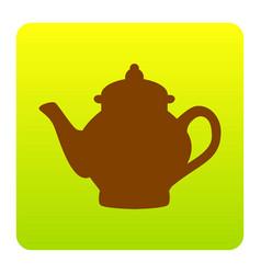 tea maker sign brown icon at green-yellow vector image