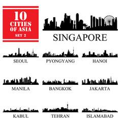 10 asian cities set vector