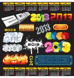 2013 year 3d titles logos labels vector
