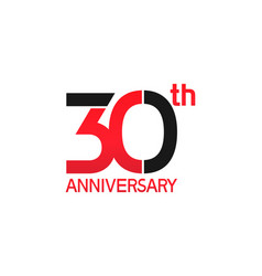 30 years anniversary logotype with black and red vector