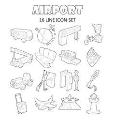 Airport set icons outline style vector image