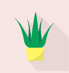 aloe plant pot icon flat style vector image