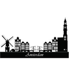 Amsterdam city skyline text vector