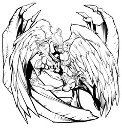angel versus devil line art vector image