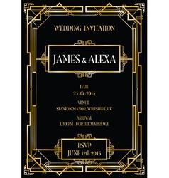 Art deco gatswedding invite vector