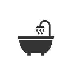 bath shower icon in flat style bathroom hygiene vector image