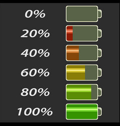 battery power levels vector image