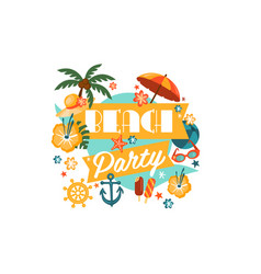 Beach party poster with palm umbrella anchor vector