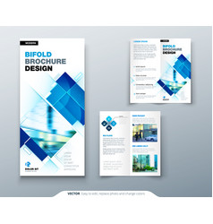 Bi fold brochure design with square shapes vector