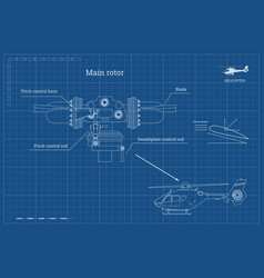 Blueprint of main rotor of helicopter vector