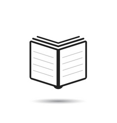 book icon flat book sign symbol with shadow on vector image