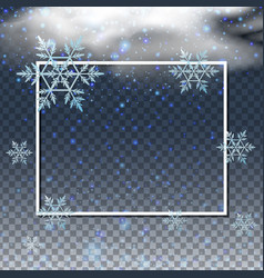 Border template with snowflakes in the sky vector