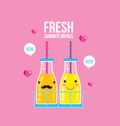 Bottles of smoothie and juice fresh summer drink vector