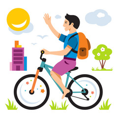 boy on bike flat style colorful cartoon vector image