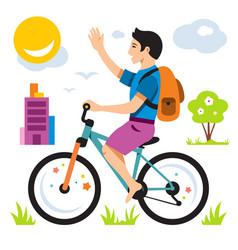 Boy on bike flat style colorful cartoon vector