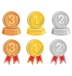 BronzeGold and Silver medalsawards vector