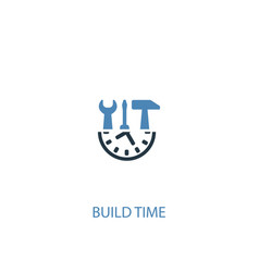 Build time concept 2 colored icon simple blue vector