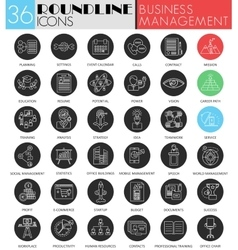 Business management circle white black icon vector