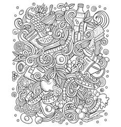 Cartoon doodles funny diet food vector