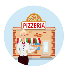 cartoon pizzeria flat vector image