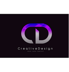 Cd letter logo design purple texture creative vector