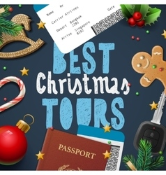 Christmas and New Year vacations travel tours vector