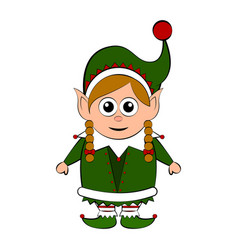 christmas elf cartoon character vector image