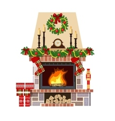 Christmas fireplace Xmas decoreated room vector