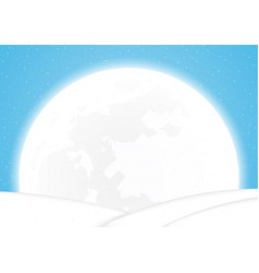 christmas snow hill and white moon background vector image