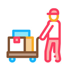 courier with trolley on wheels icon outline vector image