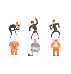 criminals and prisoners characters set masked vector image