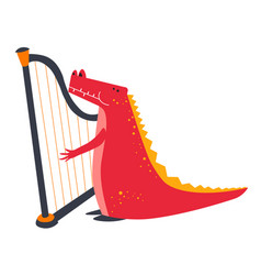 Crocodile playing harp animal musician childish vector