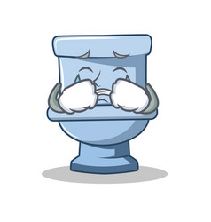 Crying toilet character cartoon style vector