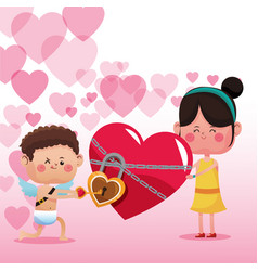 cupid and girl cartoon vector image