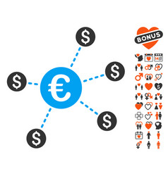 Currency network nodes icon with dating bonus vector