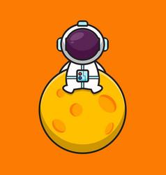 Cute astronaut character sit on moon cartoon vector