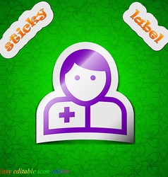 Doctor icon sign Symbol chic colored sticky label vector image