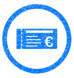 euro ticket rounded icon rubber stamp vector image