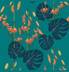 exotic tropical monstera leaves and lilies flowers vector image