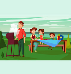 family barbecue picnic cartoon vector image