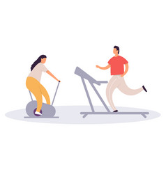 fat man running on treadmill and fat woman on vector image