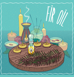Fir oil used for aromatherapy vector