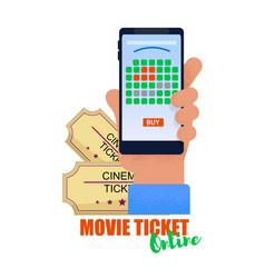 flat banner movie ticket online white background vector image
