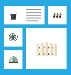 Flat icon dacha set of hosepipe hothouse wooden vector