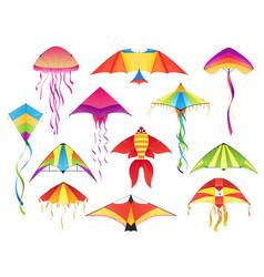 flying paper kites kitesurfing hobicons vector image