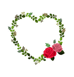 frame in form of heart decorated with roses and vector image