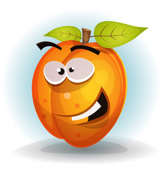 Funny apricot fruit character vector