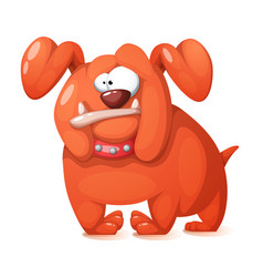Funny cute crazy cartoon dog vector
