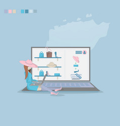 girl shopping through internet vector image