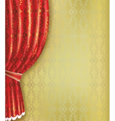 Golden background with red curtain and pattern vector image